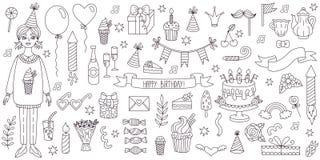 Линия комплект doodle символов вечеринки по случаю дня рождения вектора Стоковое Изображение RF
