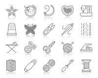 Линия комплект Needlework простая черная вектора значков бесплатная иллюстрация
