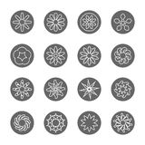 Линия комплект белого цветка тонкая значка Стоковое Изображение RF