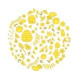 Линия комплект вектора искусства нарисованный рукой doodle шаржа меда возражает, символы и детали Стоковые Изображения RF