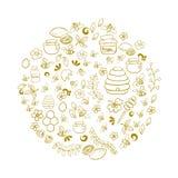 Линия комплект вектора искусства нарисованный рукой doodle шаржа меда возражает, символы и детали Стоковая Фотография RF