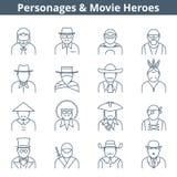 Линия комплект героев кино людей значка Стоковое Фото