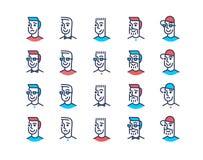 Линия комплект значка людей дизайна искусства Стоковое Изображение