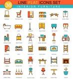 Линия комплект мебели вектора плоская значка Современный дизайн элегантного стиля для сети Стоковые Фото