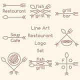 Линия комплект логотипа ресторана искусства Стоковая Фотография