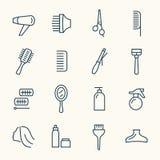 Линия комплект парикмахерских услуг значка бесплатная иллюстрация