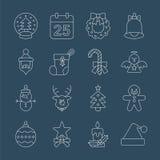 Линия комплект рождества значка иллюстрация вектора