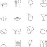 Линия комплект символа кухни значка Стоковая Фотография RF