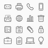 Линия комплект символа элементов офиса значка