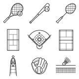 Линия комплект тенниса, бейсбола & бадминтона иллюстрации иллюстрация вектора