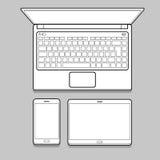 Линия комплект устройства и прибора тонкая модель-макета Стоковые Изображения RF