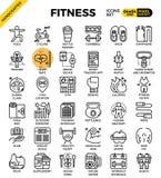 Линия комплект фитнеса значка бесплатная иллюстрация