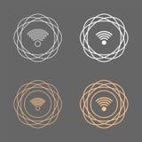 Линия комплект формы круга Wifi круговая значка Стоковые Изображения RF