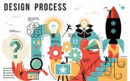Линия концепция процесса проектирования плоская искусства infographic иллюстрация штока