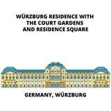 Линия концепция резиденции Германии, Wurzburg значка Знак вектора резиденции Германии, Wurzburg плоский, символ, иллюстрация иллюстрация вектора