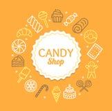 Линия концепция шаблона дизайна цвета магазина конфеты круглая значка вектор Стоковое Изображение