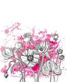Линия краска цветка руки вычерченная пинка вектора бесплатная иллюстрация