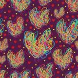 Линия красочная безшовная картина формы влюбленности Стоковая Фотография RF