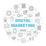 Линия круг цифров выходя на рынок значка, коммерция глобального бизнеса бесплатная иллюстрация