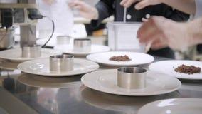 Линия крупного плана блюд плит Шеф-повара группы занятые в коммерчески кухне точного обедая ресторана Штат в ресторане сток-видео