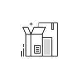 Линия кладет логотип в коробку Стоковое Изображение RF