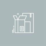 Линия кладет логотип в коробку Стоковые Изображения