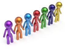 Линия люди социальной сети цепная сыгранности характера друзей Стоковые Фото