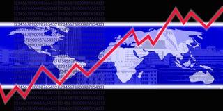 линия мир диаграммы красного цвета карты Стоковая Фотография