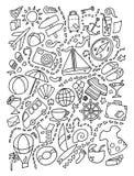 Линия мультфильм doodle искусства установила деталей, объектов и символов темы планирования перемещения иллюстрация штока