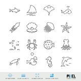 Линия набор вектора значка Значки морской флоры и фауны родственные линейные Твари моря, символы животных, пиктограммы, знаки иллюстрация штока