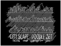 Линия набор вектора doodle эскиза руки вычерченная значка элемента городского пейзажа стоковое фото