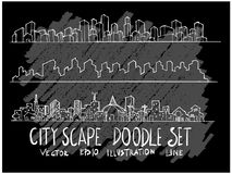 Линия набор вектора doodle эскиза руки вычерченная значка элемента городского пейзажа стоковое изображение