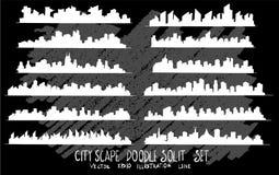 Линия набор вектора doodle эскиза руки вычерченная значка элемента городского пейзажа стоковые изображения rf