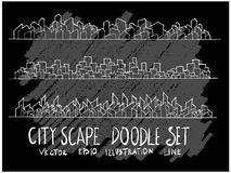 Линия набор вектора doodle эскиза руки вычерченная значка элемента городского пейзажа стоковая фотография