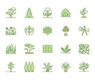 Линия набор деревьев плоская значков Заводы, дизайн ландшафта, ель, суккулентная, кустарник уединения, трава лужайки, вектор цвет иллюстрация вектора