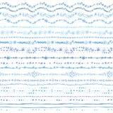 Линия нарисованная рукой безшовная комплект границы Doodle зимы Стоковая Фотография RF