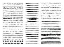 Линия нарисованная рукой границы, ходы и Scribbles Стоковая Фотография RF