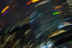 Линия ночи футуристическая строя абстрактную, завихрянную ночу освещает внутри Стоковая Фотография