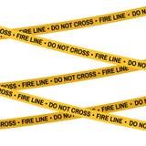Линия огня лента места преступления желтого цвета, линия полиции не пересекает ленту Предпосылка белизны иллюстрации плоск-стиля  Стоковая Фотография