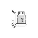 Линия логотип тележки груза Стоковые Изображения