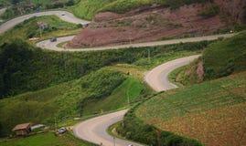 Линия дороги зеленого mountaintt Стоковые Фотографии RF