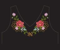 Линия острословие шеи вышивки красочная романтичная этническая цветочного узора Стоковые Изображения RF