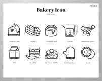 Линия пакет значка пекарни иллюстрация вектора