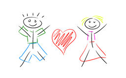 Линия пара в влюбленности иллюстрация вектора