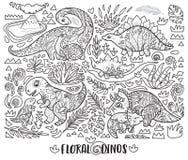 Линия печать с динозаврами мамы и младенца и тропическими заводами r иллюстрация штока