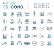 Линия пиво вектора установленная значков Стоковые Фото