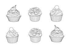 Линия пирожные на белой предпосылке иллюстрация вектора