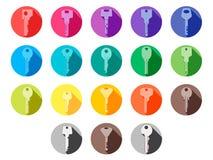 Линия плоские значки вектора тонкая дизайна установила ключи для дома Стоковые Фотографии RF