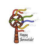 Линия плоский значок национального праздника Shrovetide русская стиля Стоковое фото RF