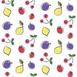 Линия покрашенная картина плодоовощей вектора doodle безшовная Стоковое Изображение